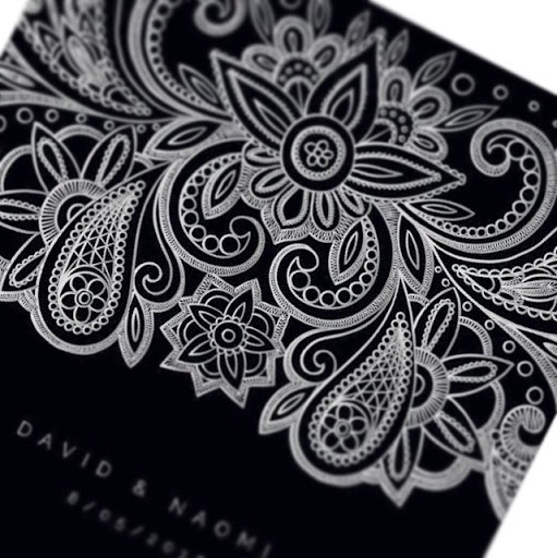 Silver Paisley Invitations
